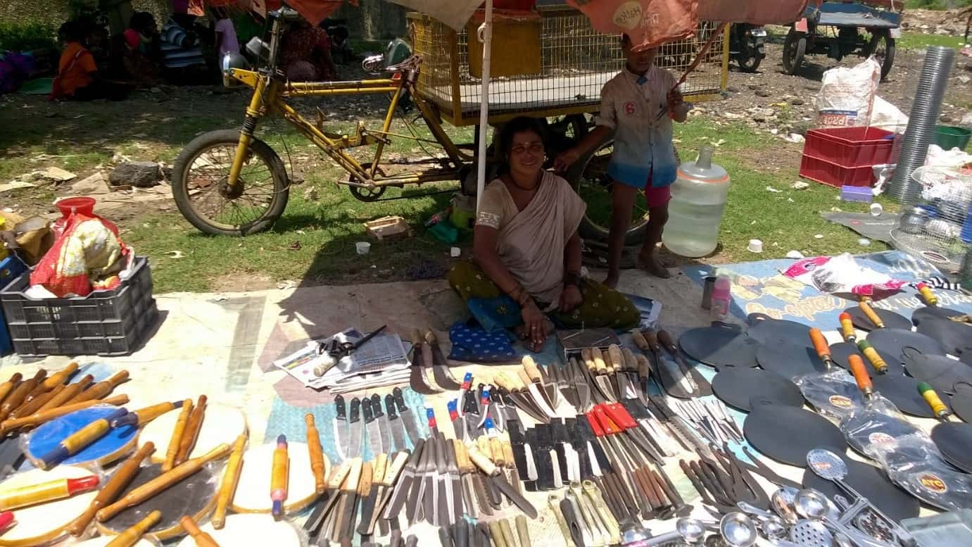 Selvi, who sells kitchen ware in Pallavaram, hopes she will be able to make up for her loss in another week. Pic: Bhavani A P
