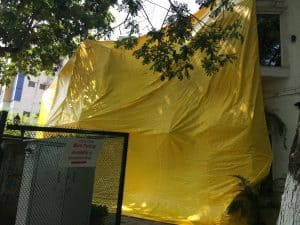 The Ciclo Cafe in Kotturpuram, draped in tarpaulin in apprehension of law and order disruptions. Pic: Meenakshi Ramesh