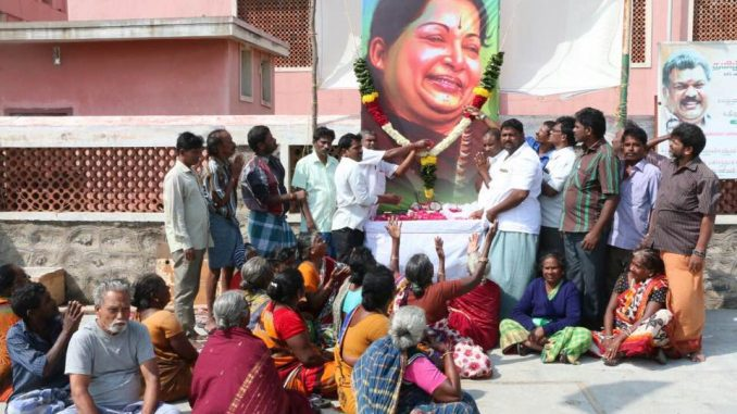 A tribute to Jayalalithaa at the fishers' community of Nocchi Kuppam, off San Thome. Pic: Madhan Kumar/Mylapore Times