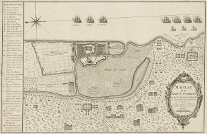 Plan of the siege of Madras by La Bourdonnais in 1746, with details of the fortifications and the French ships that participated in the landing. Pic: Monsieur Paradis/Wikimedia