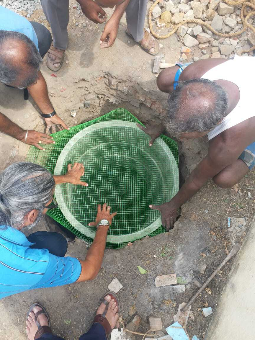 A mesh top that closes off the RWH pit. Pic: L Sundararaman, Citizen Matters