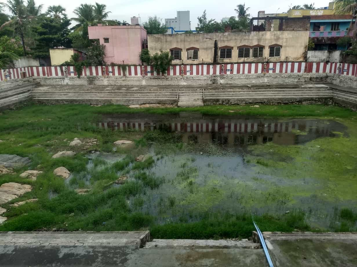 "A temple tank at the Sivan temple of Selaiyur was desilted a year ago. ""We pool in money every year and remove the silt ourselves,"" said the priest, who is hoping to complete the work at least next year."