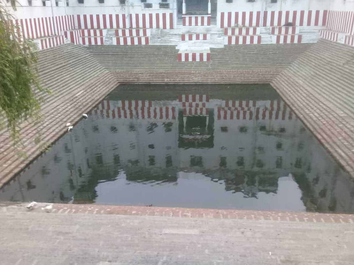 "The 600-year-old Arulmigu Ekambareswarar temple tank in Mint street was de-silted a month ago. ""We dug nine pits in the tank to ensure better recharge of rainwater. Not a single drop of rainwater from the temple premises gets wasted,"" said the temple's Executive Officer."
